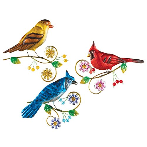 Pretty Birds Metal Wall Decor - Set 3 (Multi Collection Metal)