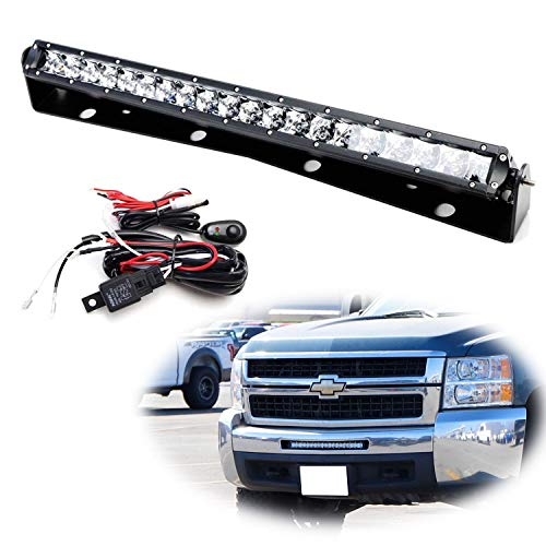 iJDMTOY Lower Grille 20-Inch LED Light Bar Kit For 2011-13 Chevy Silverado 1500, 2007-10 2500 3500 HD, Includes 100W High Power CREE LED Lightbar, Lower Bumper Mounting Brackets & Switch Wiring Kit