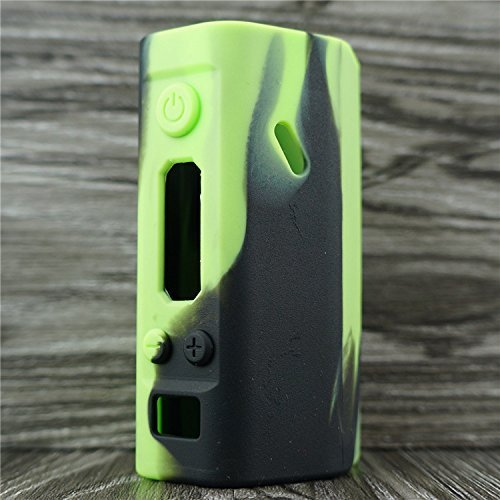 newest 49264 4a070 Silicone Case for Wismec Reuleaux RX200 Sleeve Cover Skin Wrap (Green/Black)