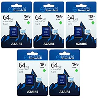 Everything But Stromboli 64GB MicroSD Azaire Memory Card & Adapter (5 Pack) Works with Action Cams & Drones, GoPro Hero Cameras, DJI Mavic, Phantom, Spark, Osmo, Class 10, U1, UHS-1, 4K Full HD, SDXC