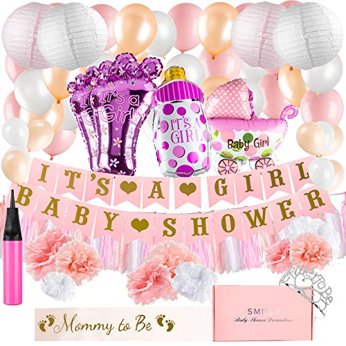 Baby Shower Decorations for Girl Kit: Pink, White, and Champagne Gold Party Decor - Its A Girl Banner, Balloons, Tissue Paper Pom Poms and Hanging Lantern Decoration Bundle - Includes Sash and Tiara ()