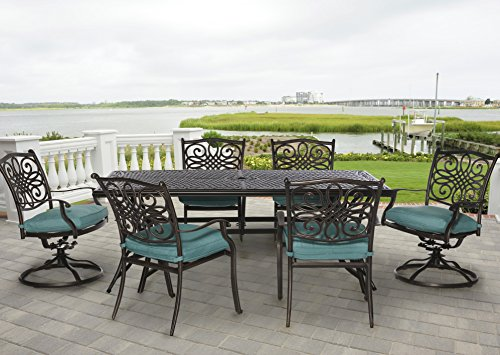Hanover TRADDN7PCSW-BLU 7 Piece Traditions Outdoor Dining Set (Patio Depot Set Dining Home)