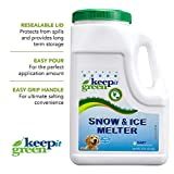 KEEP IT GREEN Pet Safe Ice Melt - 12 Pound Jug - Nontoxic Child Friendly Snow Melter Rock Salt Pellets with Green Tint - Time Release Fertilizer for Grass and Garden - Calcium Chloride Free