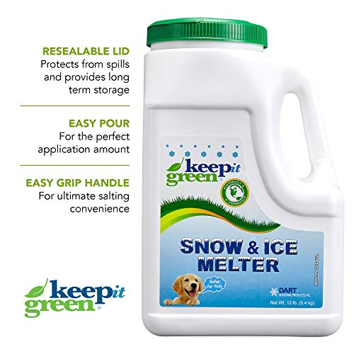 KEEP IT GREEN Nontoxic Snow and Ice Melter – Child and Pet Safe Ice Melt Rock Salt Pellets with Time Release Fertilizer for Grass and Garden – Green Tint (12 Pound Jug) ()