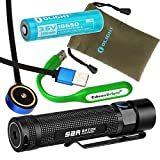 Olight S2R Baton USB rechargeable 1020 Lumens CREE LED Flashlight EDC with 18650 Li-ion battery, magnetic charging cable with EdisonBright USB powered reading light bundle