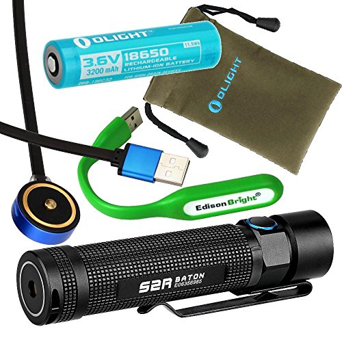 rgeable 1020 Lumens CREE LED Flashlight EDC with 18650 Li-ion battery, magnetic charging cable with EdisonBright USB powered reading light bundle ()