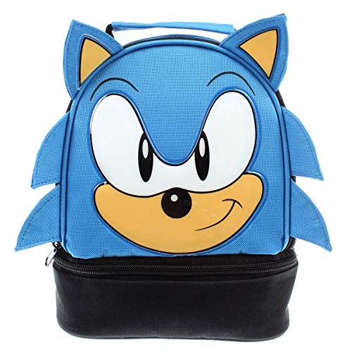 Sega Sonic the Hedgehog Lunch Bag Big Face Dual Compartment Lunch Box - Face Box Lunch