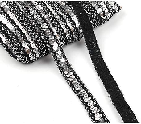 Yalulu 10 Yards Elastic Sequin Stretch Lace Trim Mesh Ribbons Fabric DIY Dress Cloth Lace Ribbon Wedding Party Decoration Black-Gold