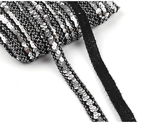 (Yalulu 10 Yards Elastic Sequin Stretch Lace Trim Mesh Ribbons Fabric DIY Dress Cloth Lace Ribbon Wedding Party Decoration (Silver-Black))