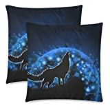 2 Set Throw Pillow Covers 18'' x 18'' Twin-Side Printing Moon Blue Wolf Square Pillow Cases