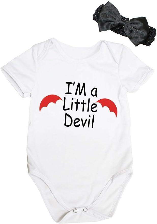 Petitebelle Im Little Devil Black Bodysuit Red Black Striped Baby Dress Nb-18m