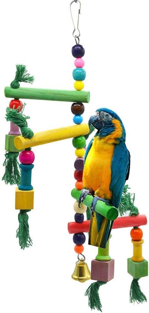 Ogquaton Escalera de Madera Pájaros Loro Agapornis Guacamayo Cockatiel Jaula Accesorios Suministros para Mascotas Práctico y práctico: Amazon.es: Hogar