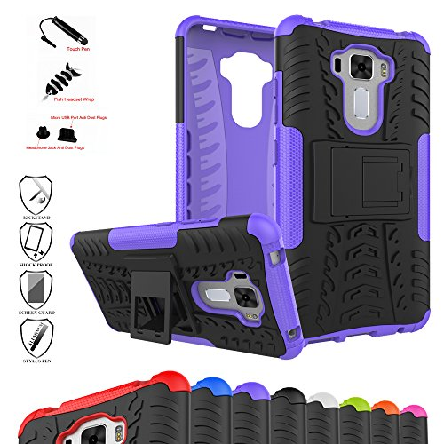 Zenfone 3 Laser ZC551KL Case,Mama Mouth Shockproof Heavy Duty Combo Hybrid Rugged Dual Layer Grip Cover with Kickstand For ASUS Zenfone 3 Laser ZC551KL(With 4 in 1 Free Gift Packaged),Purple - Kickstand Combo