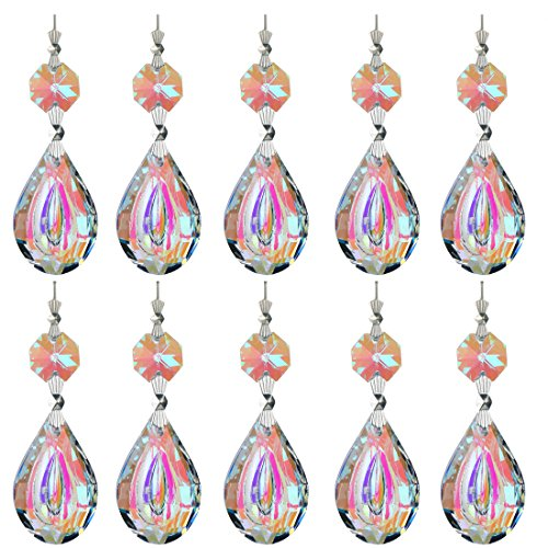 Crystal Octagon Shape - H&D Colorful Lamp Prisms Parts 38mm Loquat Shape with Octagon Bead Chandelier Glass Crystals Hanging Drops Pendants (Color-20pcs)