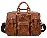 ALTOSY Men Vintage Genuine Leather Messenger Shoulder Travel Bag Satchel Briefcase 6908 (Light Brown)