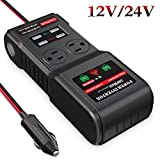 BMK 300W Car Power Inverter DC 12V 24V to 110V AC Car Inverter with 2 AC Outlets 4 USB Ports Charger Adapter Car Plug Converter with Switch and Cigarette Lighter Socket