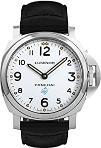 Panerai Luminor White Dial Stainless Steel on Black Leather Strap Mens Watch
