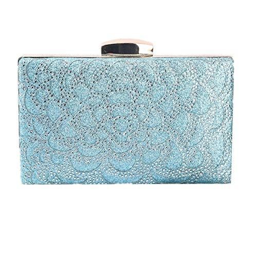 Color Blue Handbag Lovely Silver Bag rabbit Diamante Evening Shiny Sparkling Crystals Women's Rhinestones Clutch Wedding wPxq67wR