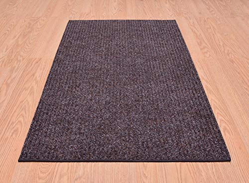 RugStylesOnline Tough Collection Custom Size Roll Runner Brown 27 in or 36 in Wide x Your Length Choice Slip Resistant Rubber Back Area Rugs and Runners (Brown, 27 in x 6 ft)