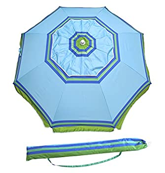 Yatio---7ft Beach Umbrella With Tilt & Integrated Long Sand Anchor,windproof, Sun Protection Spfupf100+, Bluegreen Stripe 1