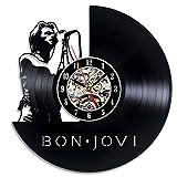 Bon Jovi Art Vinyl Wall Clock Gift Room Modern Home Record Vintage Decoration