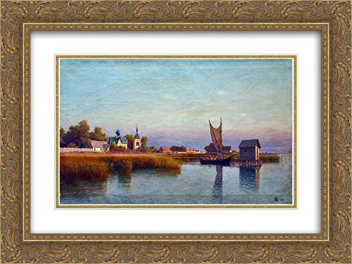 Lev Lagorio 2x Matted 24x18 Gold Ornate Framed Art Print 'View of the town from the - Galleria Riverside The