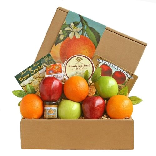 Fresh Fruit and Nuts Gift Box | Apples, Oranges, Almonds, Cheese, Crackers and More