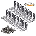 Teenitor Corner Brace, 40mmx40mm Stainless Steel Brace Corner Steel Joint Right Angle Bracket Fastener, 16 Pieces with Screws