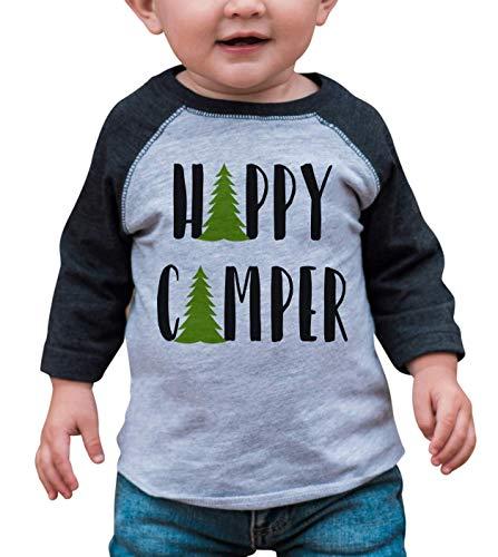 7 ate 9 Apparel Unisex Happy Camper Outdoors Raglan Tee 4T Grey