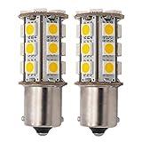 GRV Ba15s 1156 1141 High Power Car LED Bulb 24-5050SMD DC 12V Warm White Pack of 2