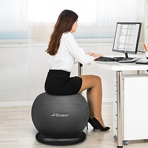 Trideer 75cm exercise ball chair stability ball with ring pump flexible seating improves - Stability ball office chair ...