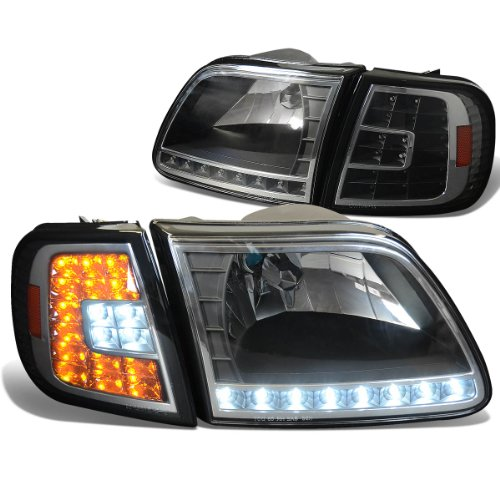 Ford F-150/Expedition 4-PC Headlights With Built-In White & Amber LED Corner Lights Kit (Black Housing) - 10 Gen