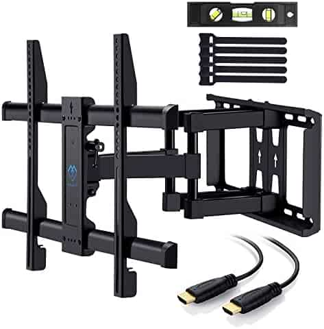 PERLESMITH TV Wall Mount Bracket Full Motion Dual Articulating Arm for most 37-70 Inch LED, LCD, OLED, Flat Screen,Plasma TVs up to 132lbs VESA 600x400mm with Tilt, Swivel and Rotation HDMI Cable by