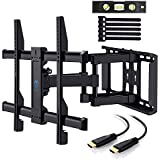 PERLESMITH TV Wall Mount Bracket Full Motion Dual Articulating Arm for most 37-70 Inch LED, LCD, OLED, Flat Screen,Plasma TVs up to 132lbs VESA 600x400mm with Tilt, Swivel and Rotation HDMI Cable