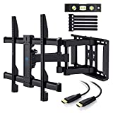 PERLESMITH TV Wall Mount Bracket Full Motion Dual Articulating Arm for most 37-70 Inch LED, LCD, OLED, Flat Screen,Plasma TVs up to 132lbs VESA 600 with Tilt, Swivel and Rotation HDMI Cable