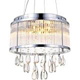 Cheap Modern Pendant Chandelier Clear Crystal Raindrop Round Drum Lighting LED Ceiling Light Fixture Lamp for Dining Room Bathroom Bedroom Livingroom 9 G9 Bulbs Required H15 in X D17 in