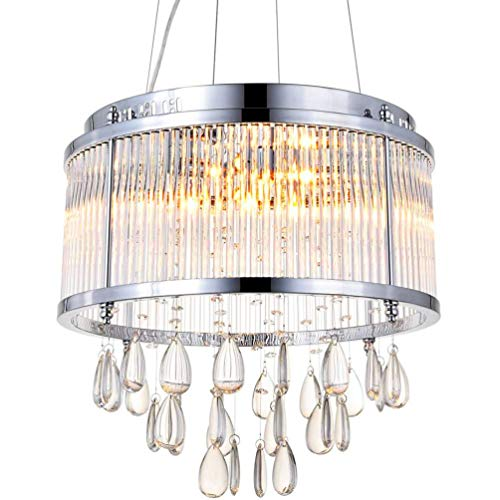 Modern Pendant Chandelier Clear Crystal Raindrop Round Drum Lighting LED Ceiling Light Fixture Lamp for Dining Room Bathroom Bedroom Livingroom 9 G9 Bulbs Required H15 in X D17 in