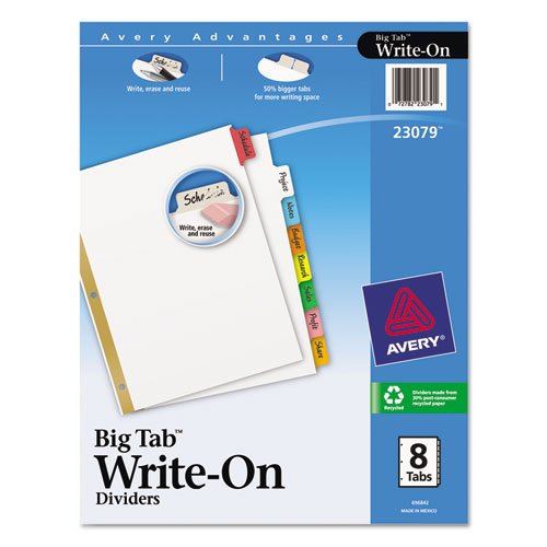 Avery Big Tab Two-Pocket Insertable Plastic Dividers, Pack of 3 (73076)