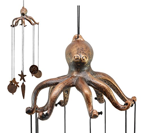 Ebros Rustic Antique Finish Coastal Marine Giant Octopus Aluminum Wind Chime Nautical Octopus Day Jones Kraken Resonant Relaxing Wind Noisemaker Patio Garden Decor