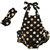 Messy Code Baby Girls Clothes Romper Onesies Gold Dot Jumpsuit One-pieces Ruffle Outfits Set Black Gold Large / 24-36Month