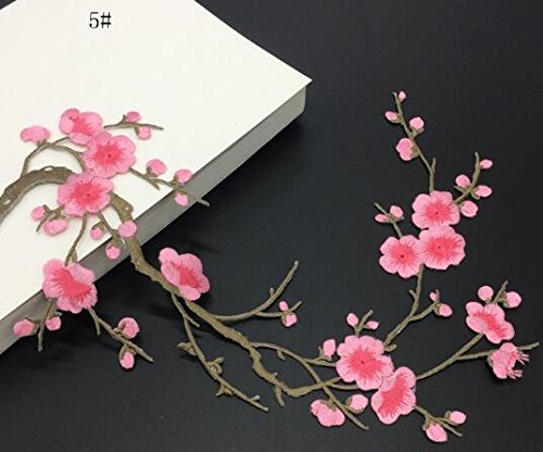 (2pcs Plum Blossom Flower Applique Clothing Embroidery Patch Fabric Sticker Iron On Patch Craft Sewing Repair Embroidered)