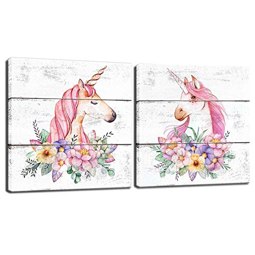 BOLUO Unicorn Wall Art for Girls Room Rustic Canvas Painting Framed Prints Flower Pictures Artwork Nursery Children Kids Bedroom Decor Pink 12x12 Inch (Set of 2)