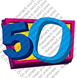 1/2 Sheet - 50th Birthday - Cake Photo Frame - Edible Cake/Cupcake Topper!!!