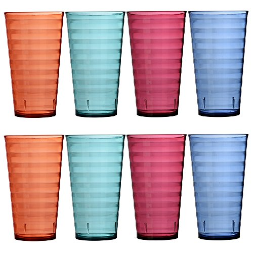 Splash 19-ounce Premium Quality Plastic Water Cup Tumblers | Set of 8 in 4 Assorted Colors (Plastic Cup Set)