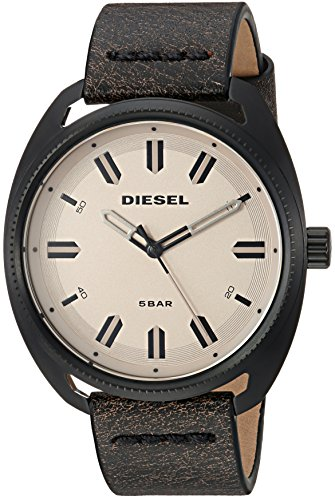 Diesel Men's 'Fastbak' Quartz Stainless Steel and Leather Casual Watch, Color:Brown (Model: DZ1836) (Diesel Leather Strap Watch)