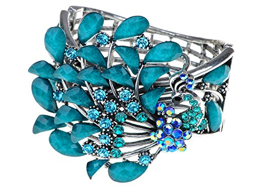 Turquoise Blue Colored Stones Vintage Peacock Bird Cuff Bracelet (Colored Stone Bracelet)