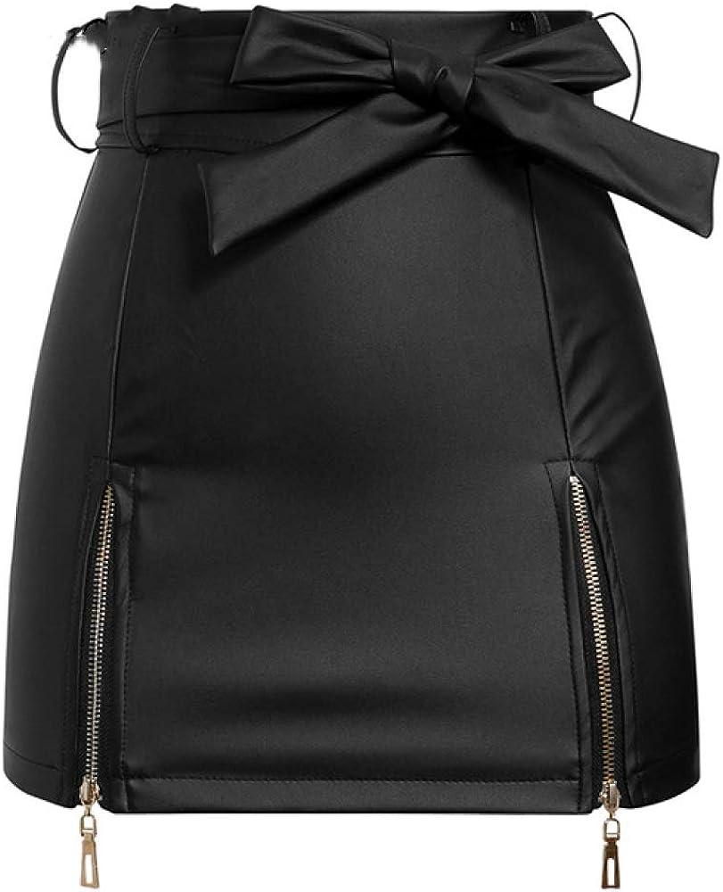 NOBRAND Falda de Cuero Sexy Mujer Elegante Pajarita de Cintura Alta Mini Falda Corta Femenina Party Club Streetwear Damas Talla Grande Falda