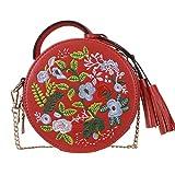 Women's Ethnic Style Embroidered Round Crossbody Shoulder Bag Top Handle Tote Handbag Bag