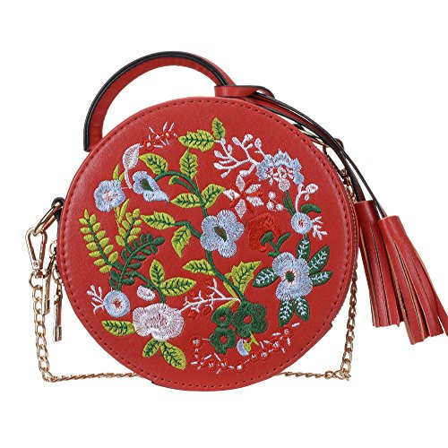 Shoulder Ethnic Style Tote Round Embroidered Red Bag Top Handle Handbag Women's Bag Crossbody OBXZXw