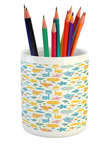 (Lunarable Baby Shower Pencil Pen Holder, Owls Birds and Giraffes Childrens Patchwork Style Animals and Colorful Clouds, Printed Ceramic Pencil Pen Holder for Desk Office Accessory, Multicolor)